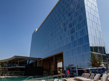 A water and pool deck seating area at Live! by Loews Hotel in Arlington.