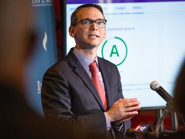 Texas education Commissioner Mike Morath speaks to the media and educational leaders regarding the state's A-F accountability ratings at the Toyota Music Factory in Irving on Aug. 15, 2019.