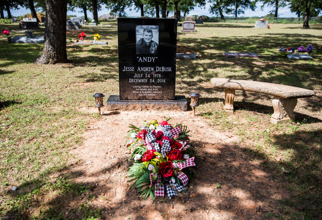 The grave of Andy DeBusk on Oct. 2, 2018 in Lipan, Texas. Andy DeBusk died in the Parker County jail after guards pepper-sprayed and piled on top of him on Dec. 24, 2016.