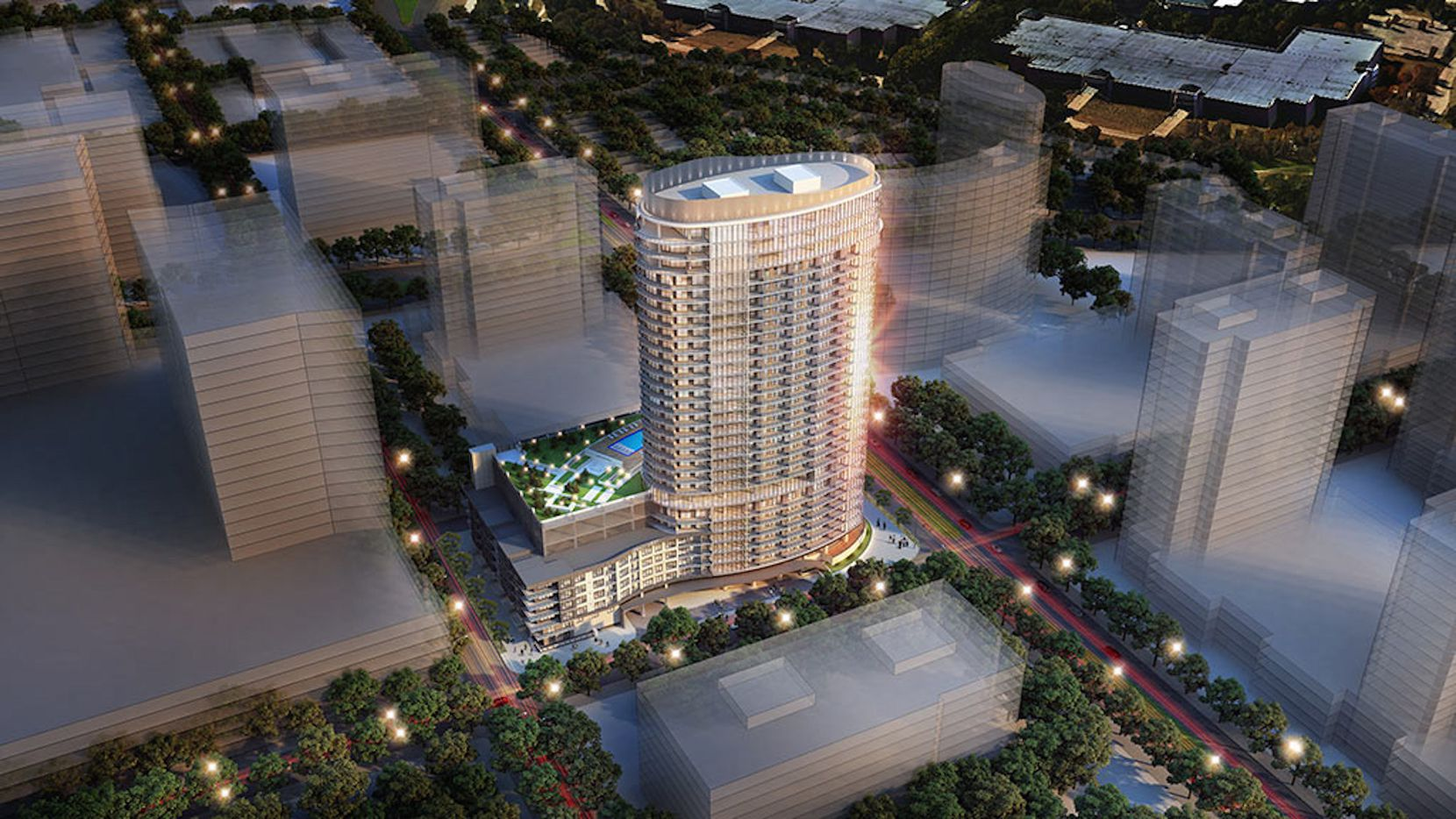 The $100 million LVL29 apartment tower is part of the $3 billion Legacy West development.