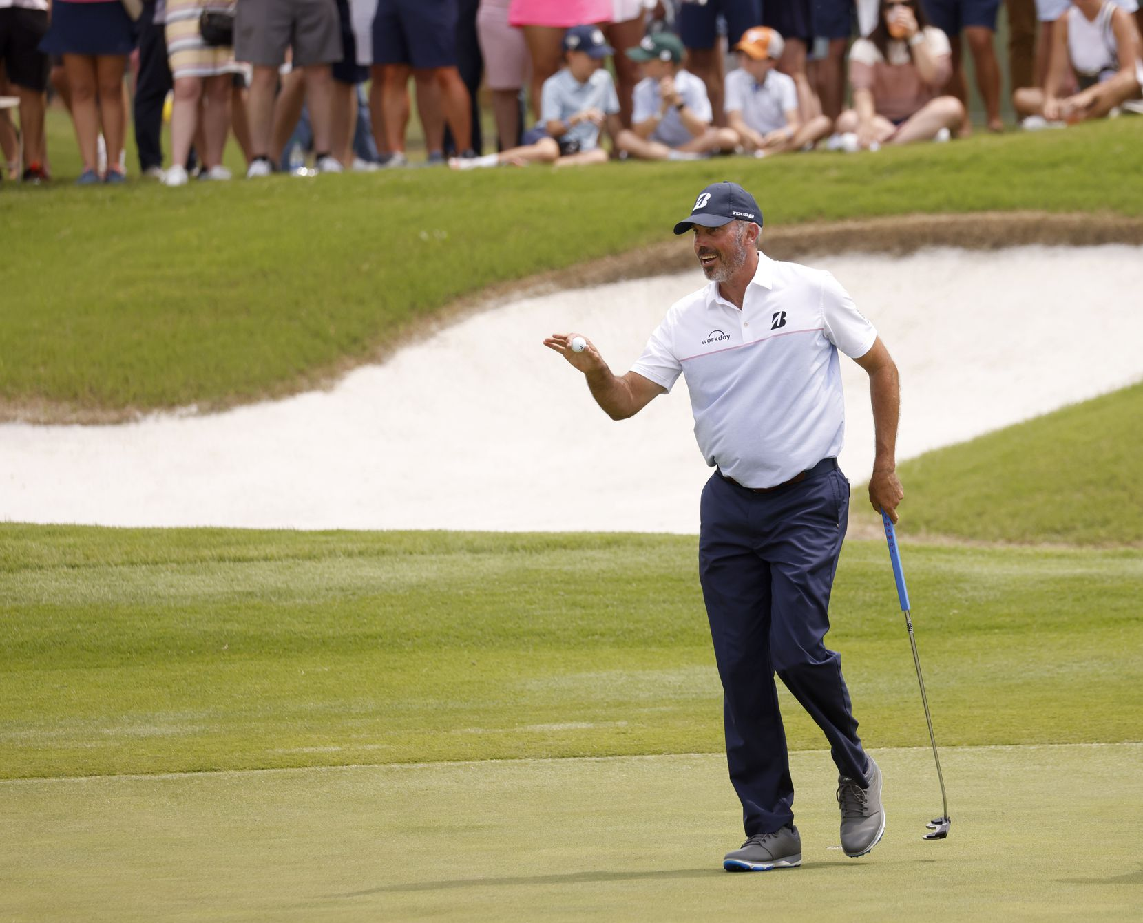 Matt Kuchar acknowledges the crowd after getting a birdie on the 12th hole during round 3 of the AT&T Byron Nelson  at TPC Craig Ranch on Saturday, May 15, 2021 in McKinney, Texas. (Vernon Bryant/The Dallas Morning News)