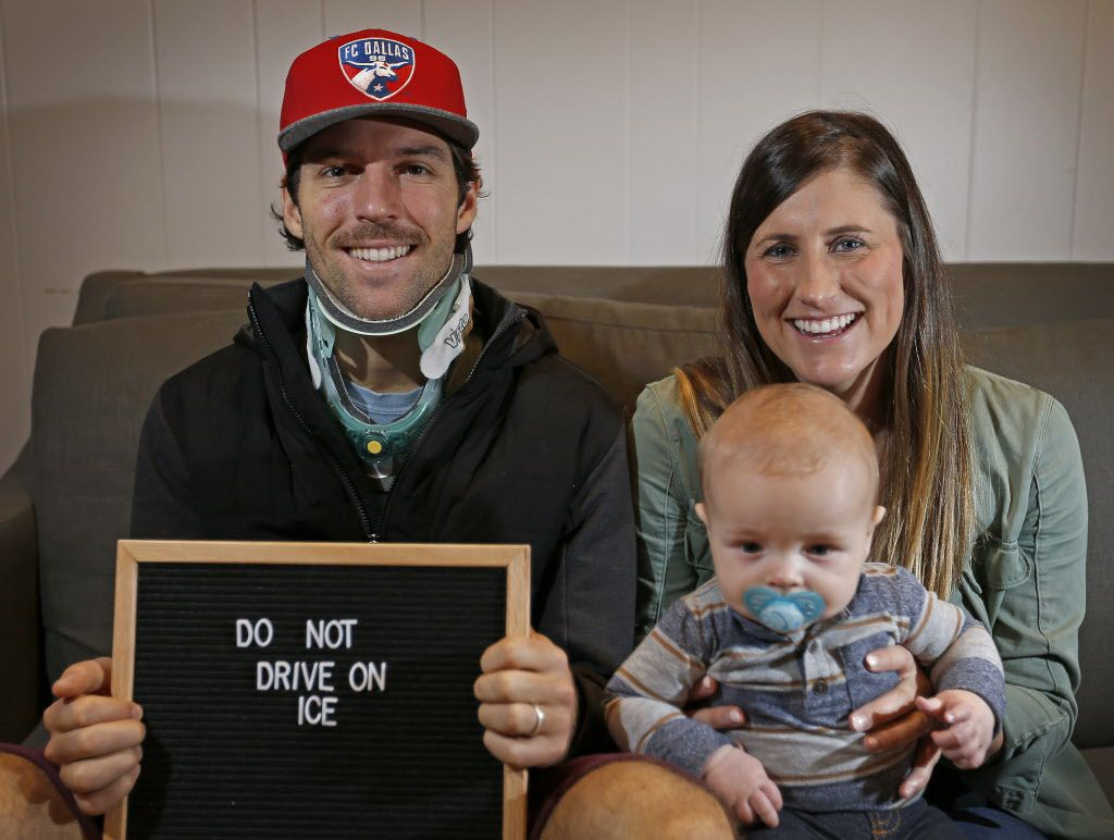 FC Dallas midfielder Ryan Hollingshead, his wife Taylor and 5-month-old son Henry pose for a photograph in Richardson, Texas, Wednesday, Jan. 18, 2017. Ryan Hollingshead was injured in his neck in a car accident when he was helping the motorists who had trouble with their car in Irving when another car struck him as North Texas was battling icy conditions on Jan. 6. (Jae S. Lee/The Dallas Morning News)