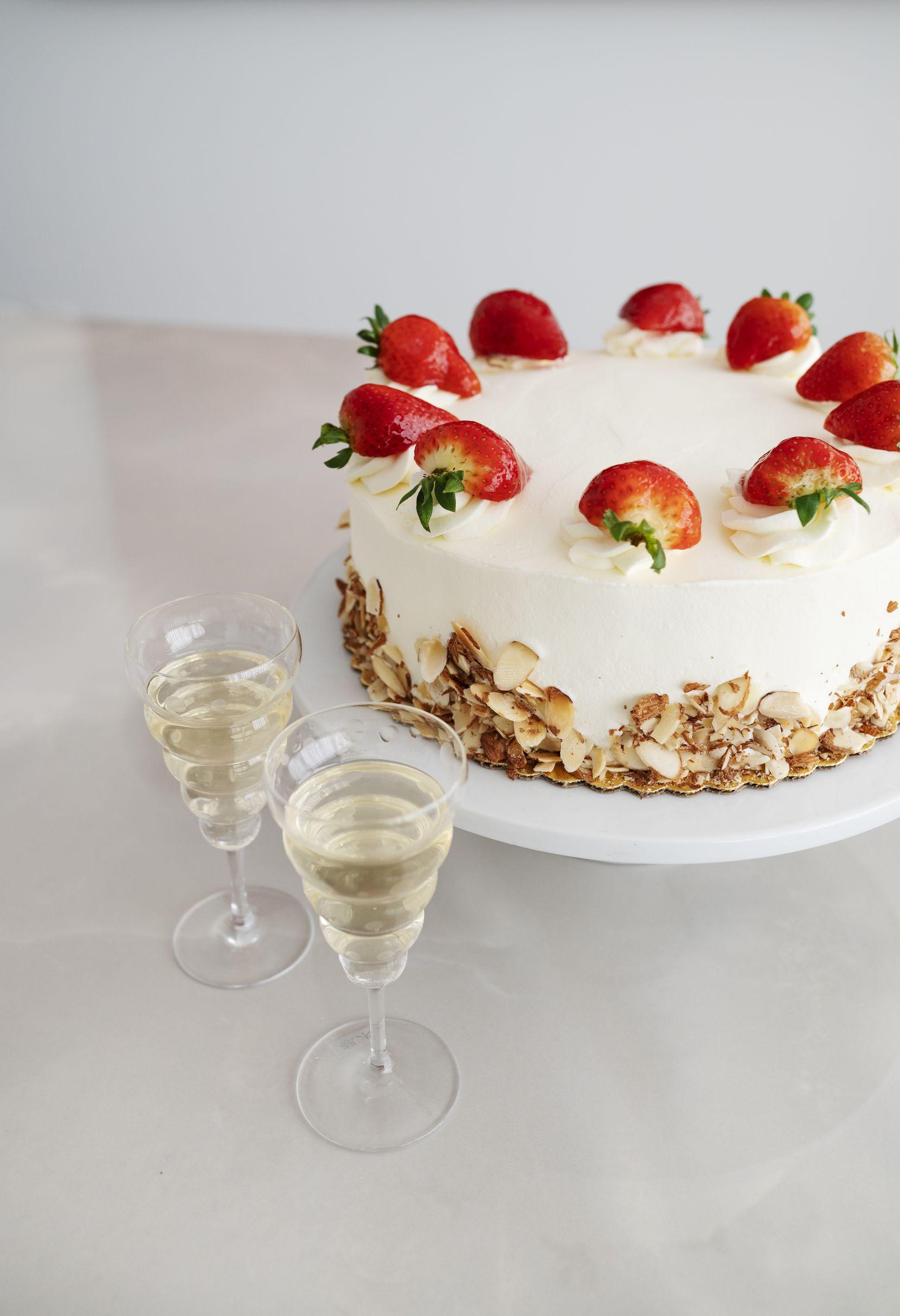 Central Market's strawberry shortcake with Michele Chiarlo Nivole Moscato d'Asti