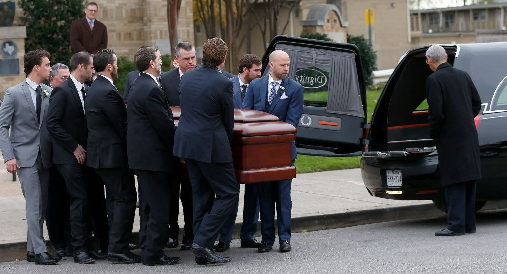 Pallbearers carry a casket of Brian Loncar to a hearse following his funeral at Munger Place Church in Dallas, Friday, Dec. 9, 2016. The late Dallas lawyer Brian Loncar died on Sunday, two days after the funeral for his 16-year-old daughter Grace Loncar, who committed suicide late last month. (Jae S. Lee/The Dallas Morning News)