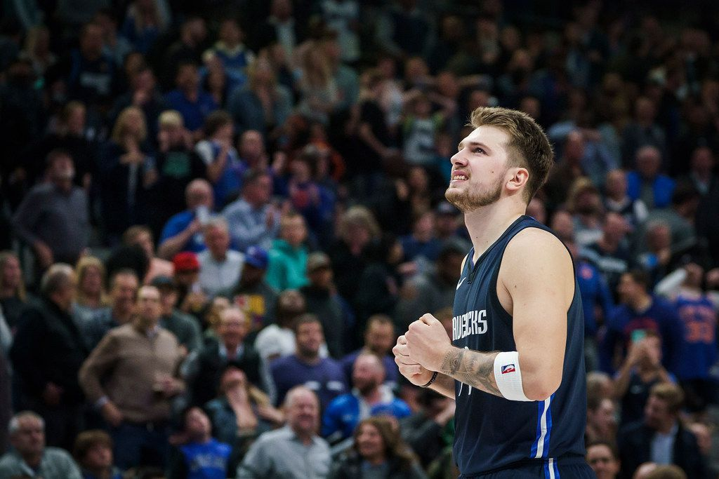 Dallas Mavericks guard Luka Doncic reacts after missing a 3-point attempt to tie the game with 18 seconds left to play during the second half of an NBA basketball game against the New York Knicks at American Airlines Center on Friday, Nov. 8, 2019, in Dallas.