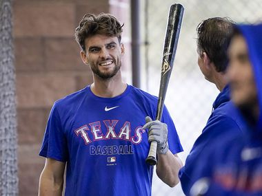 Texas Rangers infielder Greg Bird waits to hit in the batting cage on the day pitchers and catchers reported for spring training at the team's training facility on Tuesday, Feb. 11, 2020, in Surprise, Ariz. (Smiley N. Pool/The Dallas Morning News)
