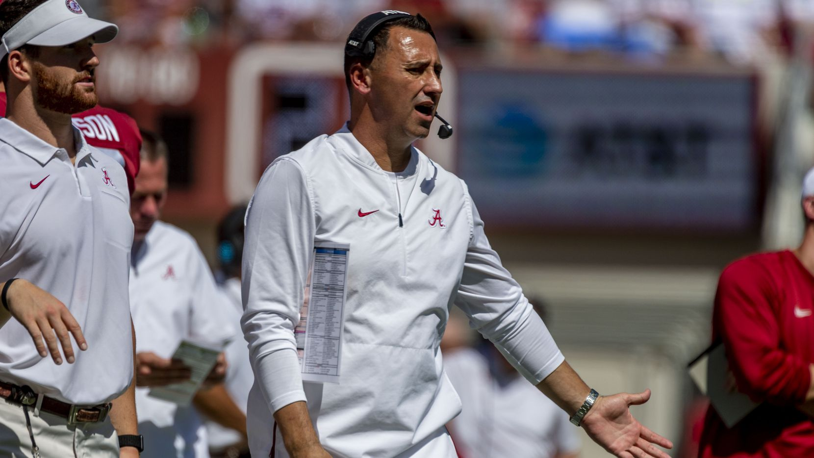 Alabama offensive coordinator Steve Sarkisian yells to his players during the first half of an NCAA college football game against Southern Miss, Saturday, Sept. 21, 2019, in Tuscaloosa, Ala.
