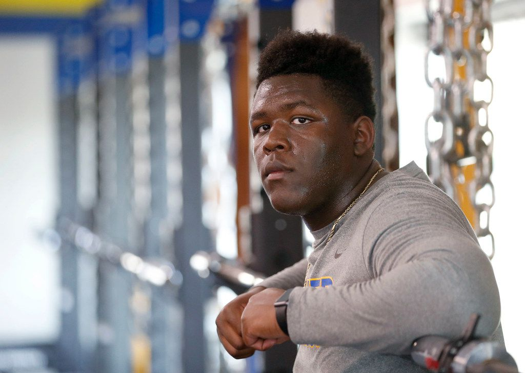 Sunnyvale's Marcus Alexander poses for a portrait in the gym at Sunnyvale High School in Sunnyvale on Thursday, April 25, 2019. Alexander an offensive lineman is headed to Oklahoma University to play football next season. (Vernon Bryant/The Dallas Morning News)