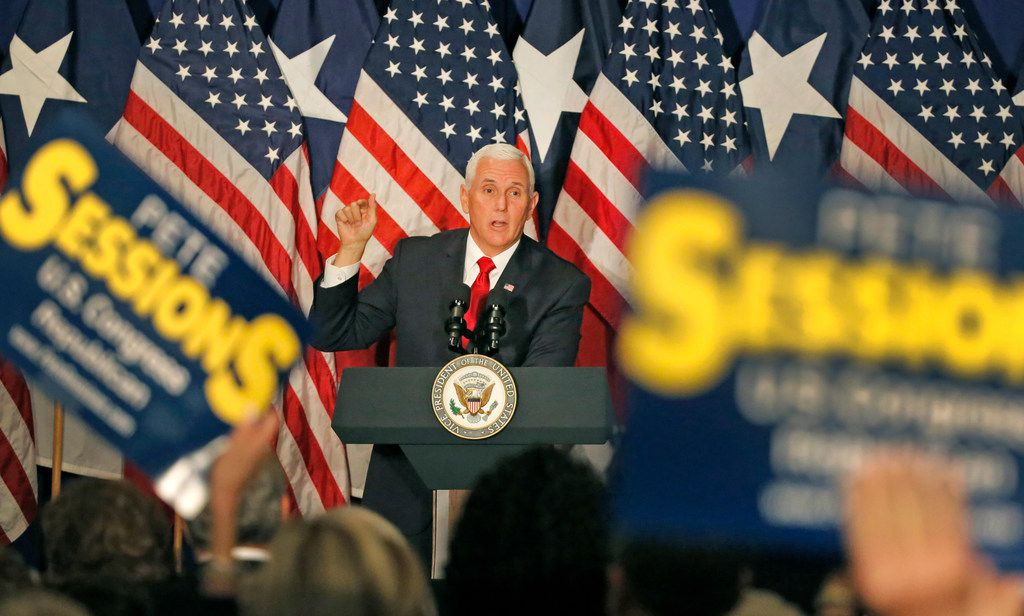 US Vice President Mike Pence speaks to the crowd as he campaigns for congressman Pete Sessions at the Park Cities Hilton Hotel in Dallas on Monday, October 8, 2018.