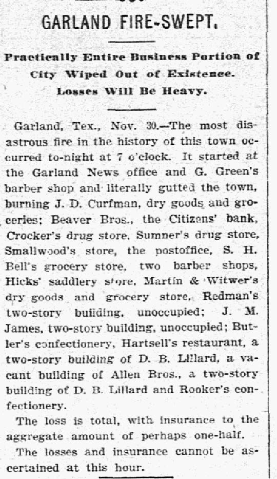 The Dallas Morning News snip was published on Dec. 1, 1899.