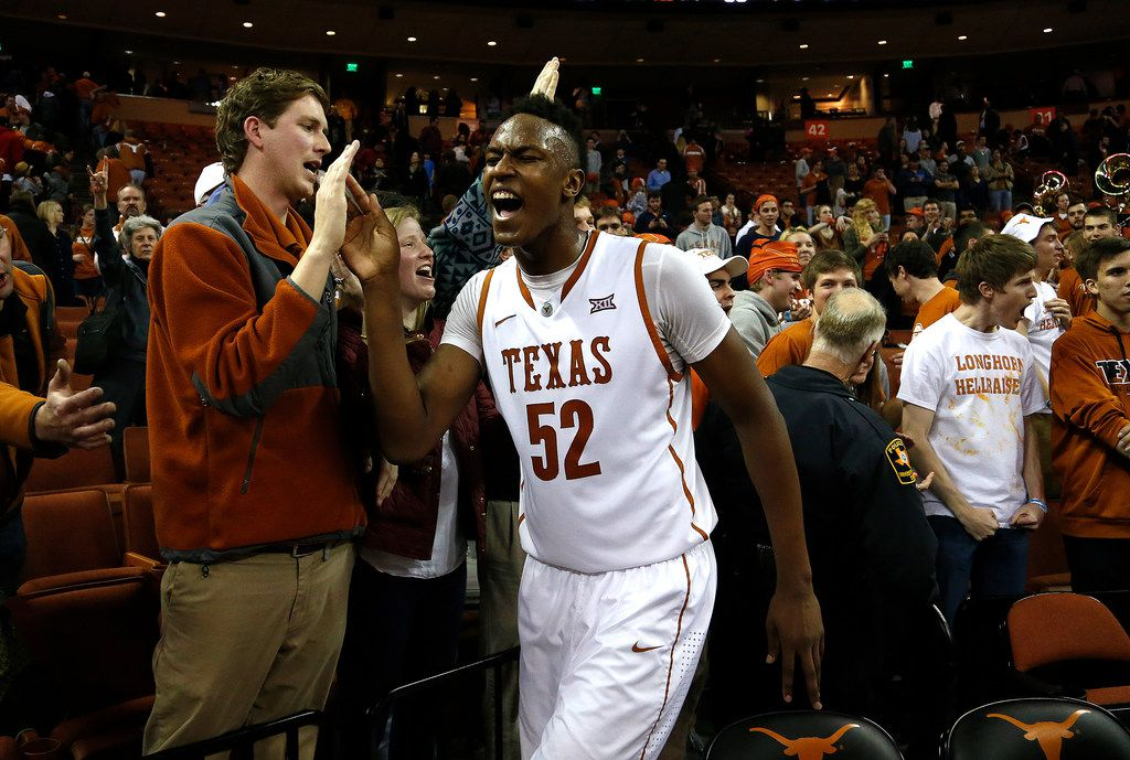 AUSTIN, TX - MARCH 2: Myles Turner #52 of the Texas Longhorns celebrates after defeating the Baylor Bears in overtime at the Frank Erwin Center on March 2, 2015 in Austin, Texas. (Photo by Chris Covatta/Getty Images) ORG XMIT: 519906435