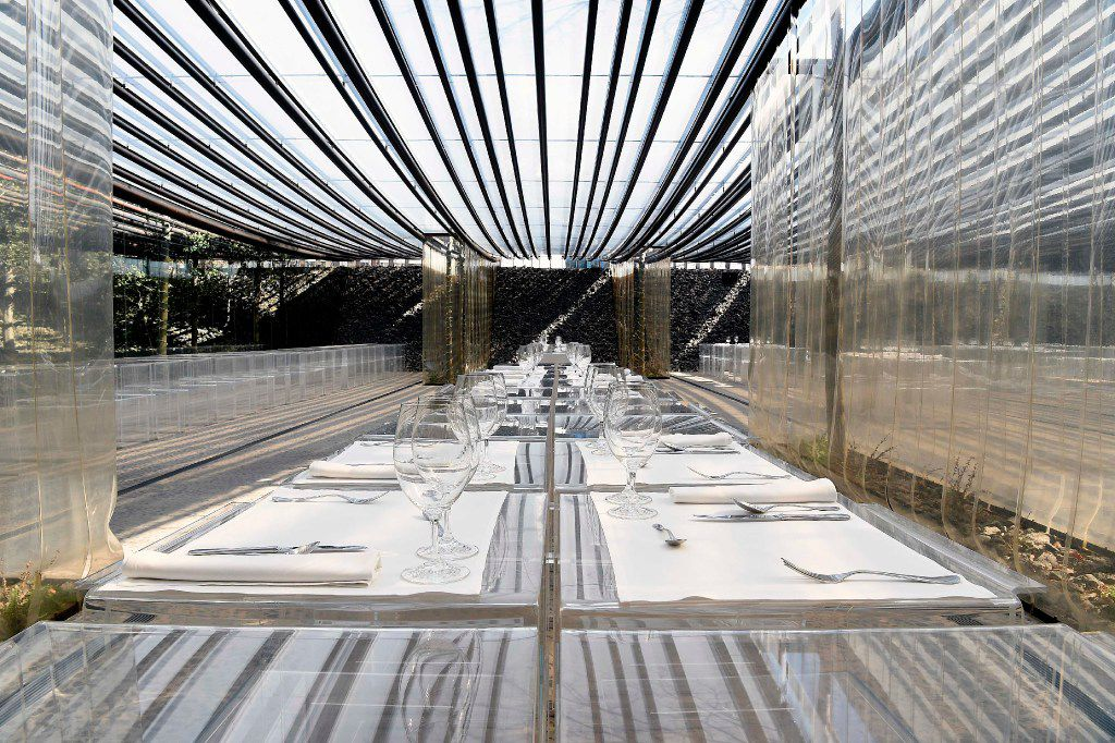 """This dining room of the restaurant """"les Cols"""" in Olot, Spain, was designed by prize-winning architects, Rafael Aranda, Carme Pigem and Ramon Vialta. (Agence France-Presse)"""