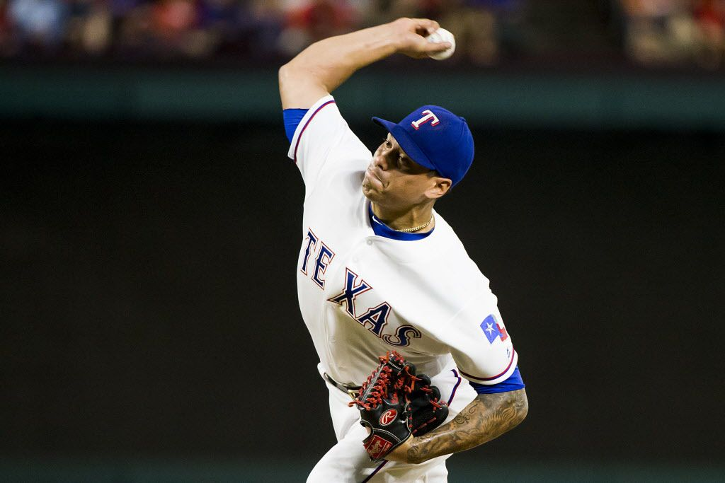 Texas Rangers relief pitcher Keone Kela delivers during the seventh inning against the Oakland Athletics at Globe Life Park on Friday, Sept. 16, 2016, in Arlington.