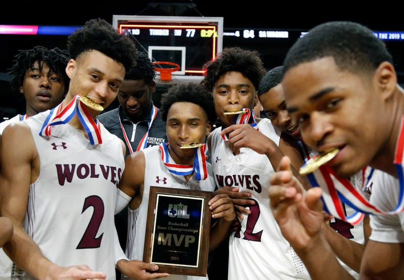 Players at the UIL boys basketball 5A state final between Mansfield Timberview vs. San Antonio Wagner on Saturday March 9, 2019 at the Alamodome in San Antonio, Texas. (Ron Cortes/ Special Contributor)