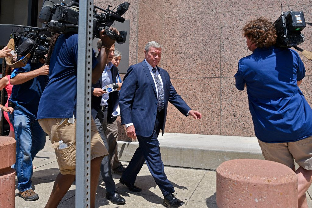 Rick Sorrells, former superintendent of Dallas County Schools, was followed by news reporters Wednesday as he walked out of the Earle Cabell Federal Courthouse in downtown Dallas after a morning hearing.