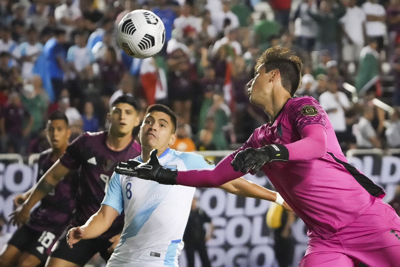 Guatemala goalkeeper Nicholas Hagen (1) makes a save on a shot by Mexico midfielder Jesús Gallardo during the second half of a CONCACAF Gold Cup Group A soccer match at the Cotton Bowl on Wednesday, July 14, 2021, in Dallas.