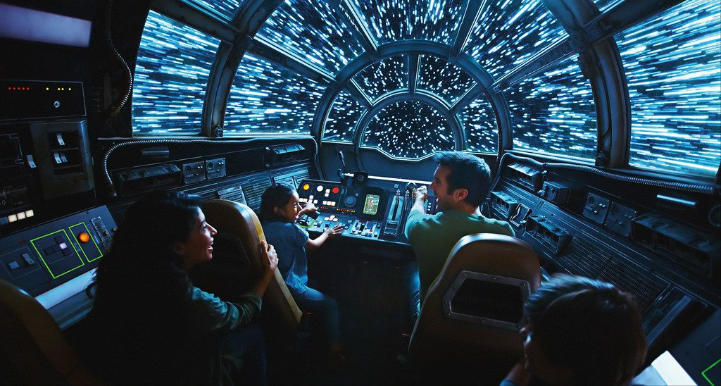 """This artist's rendering shows """"Inside Millennium Falcon: Smugglers Run,"""" part of the new Star Wars: Galaxy's Edge expansion that will open May 31 at Disneyland in Anaheim, Calif."""
