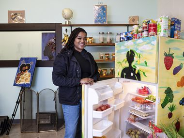 Jasmine Coleman and her free refrigerator concept titled The People's Fridge located at Heyy Healthier Studio inside the Grow DeSoto Marketplace in DeSoto, on Saturday, Feb. 06, 2021. The People's Fridge feeds North Texans in need.