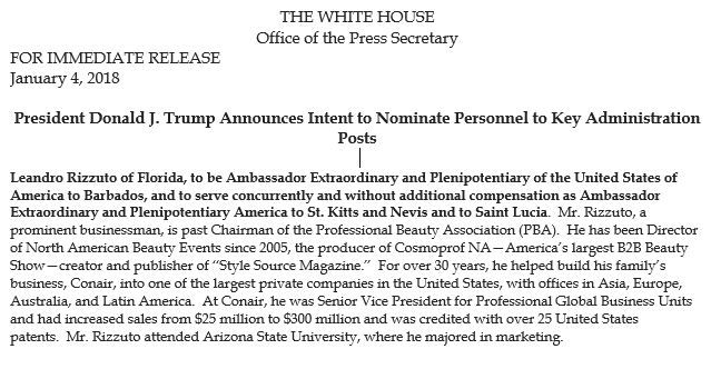 The White House announced the Rizzuto nomination on Jan. 4.