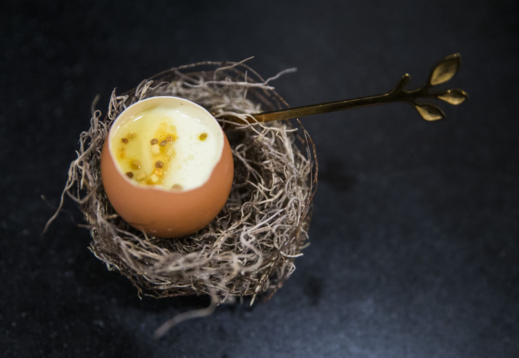 Most of chef Casey La Rue's dinners end with crémeux, a French dessert. On Jan. 25, 2020, he served mint crémeux with lime and vanilla.