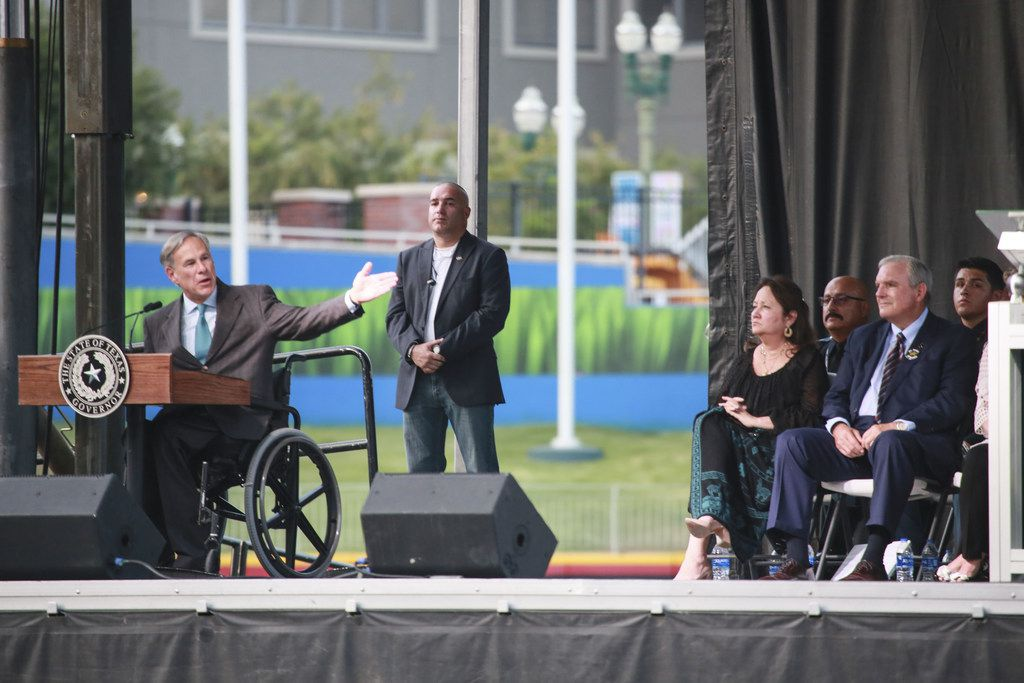 Gov. Greg Abbott, shown at last week's memorial service honoring victims of the Aug. 3 El Paso mass shooting, on Monday convened a 27-member Texas Safety Commission. It will look at 'the rise of extremist groups,' domestic terrorism, 'the link between mental health challenges and gun violence' and misuse of social media.