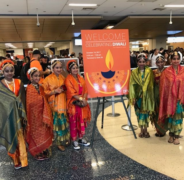 Dancers get ready to perform as part of a Diwali celebration at DFW International Airport.