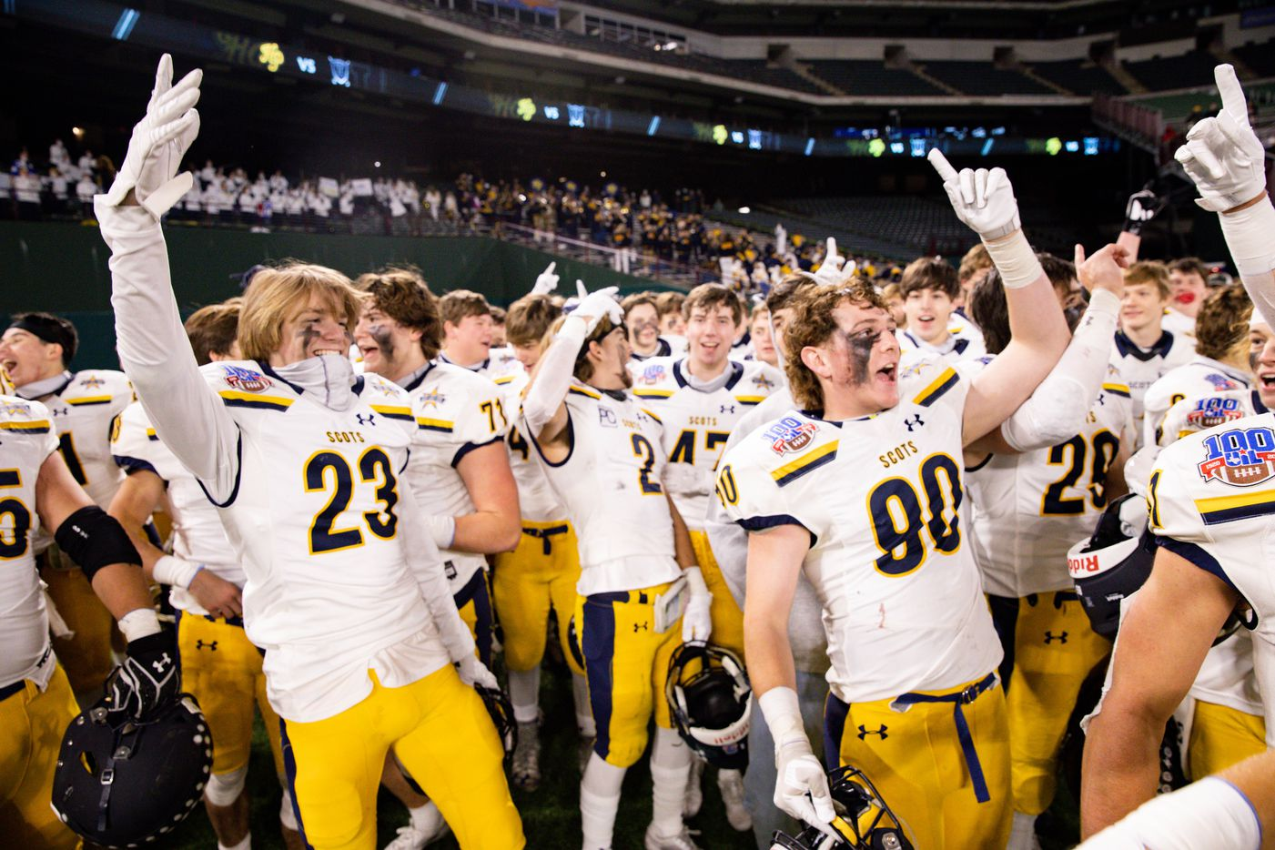 Highland Park players celebrate after winning a Class 5A Division I area-round playoff game against Frisco Independence at Globe Life Park in Arlington on Thursday, Dec. 17, 2020. Highland Park won 42-20. (Juan Figueroa/ The Dallas Morning News)