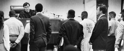 Five of the Carter High football students charged with armed robbery appear before Judge Joe Kendall on Aug. 23, 1989.  Kendall put all the suspects on house arrest.