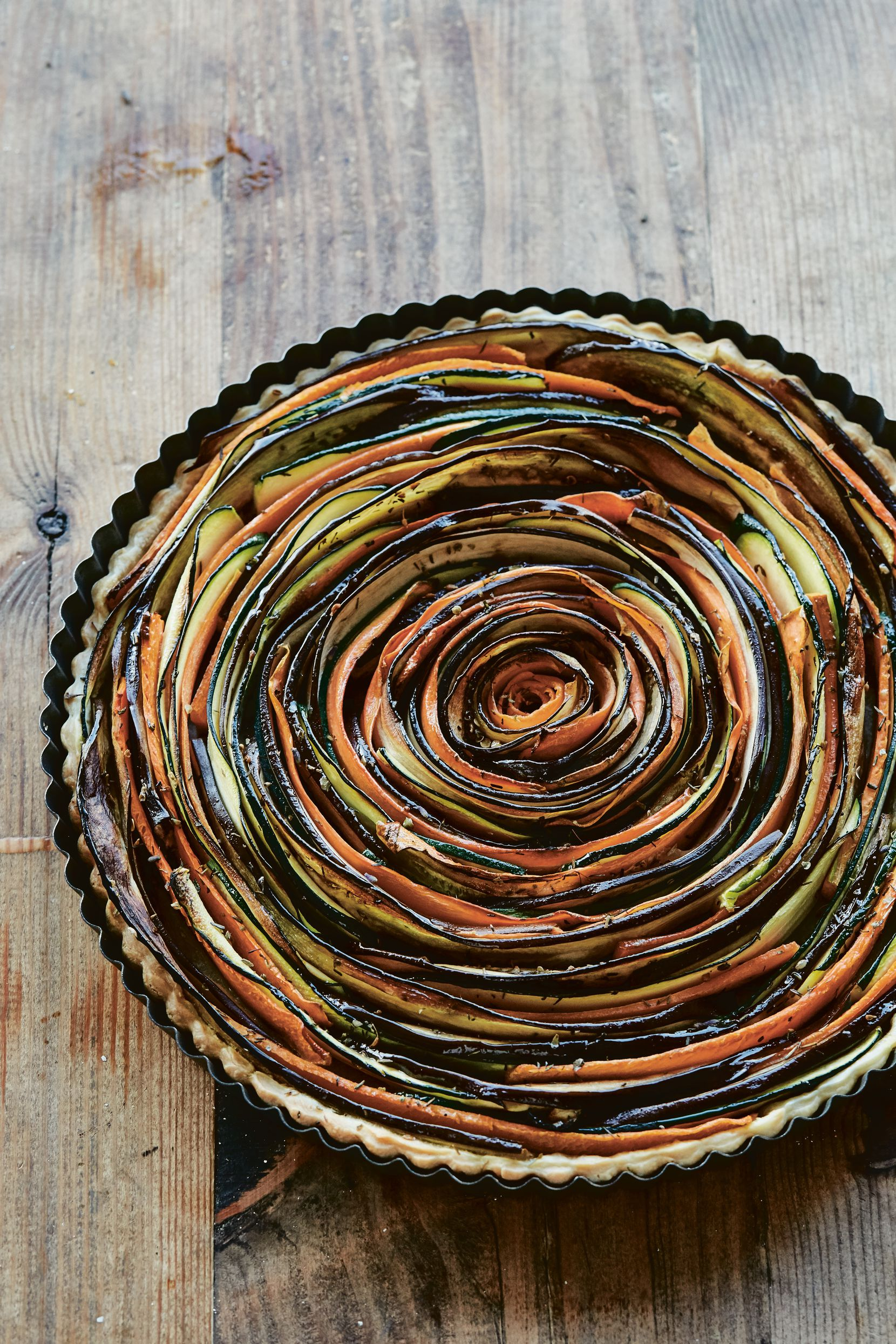Summer spiral vegetable tart from Maman The Cookbook by Elise Marshall