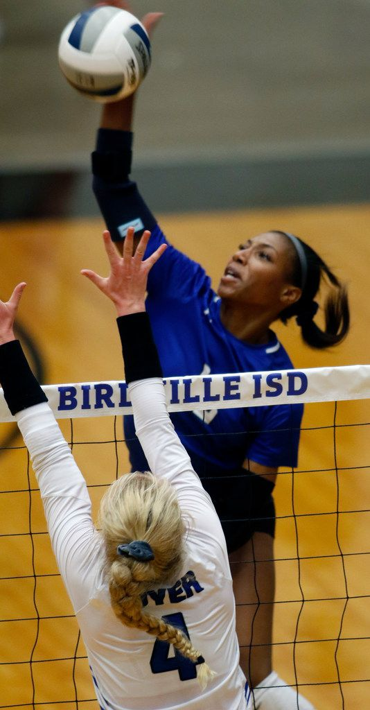 Trophy Club Byron Nelson outside hitter Charitie Luper (10) powers a shot past the defense of Denton Guyer defender Brooke Slugger (4) during the 2nd set of their match. Byron Nelson dominated 25-18, 25-17, 25-16 to advance to the state tournament. The two teams played their Class 6A Region l championship volleyball match at W.G. Thomas Coliseum in Haltom City on November 16, 2019. (Steve Hamm/ Special Contributor)