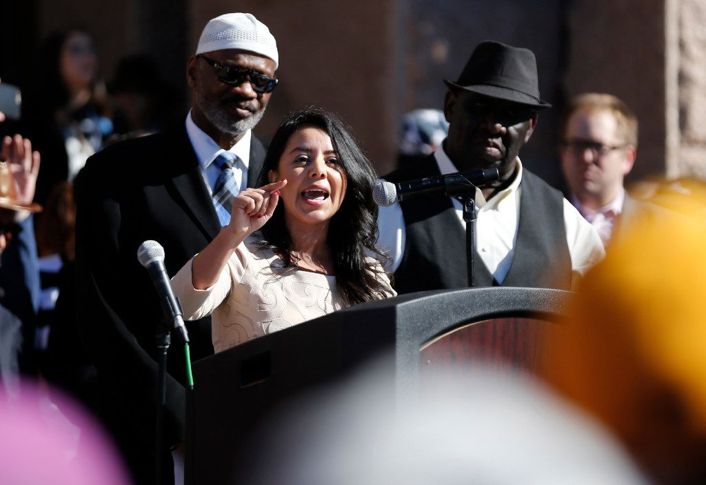Victoria Neave of Texas House District 107 speaks during a press conference at the steps of the Texas Capitol during the Texas Muslim Capitol Day rally in Austin on Tuesday, January 31, 2017.