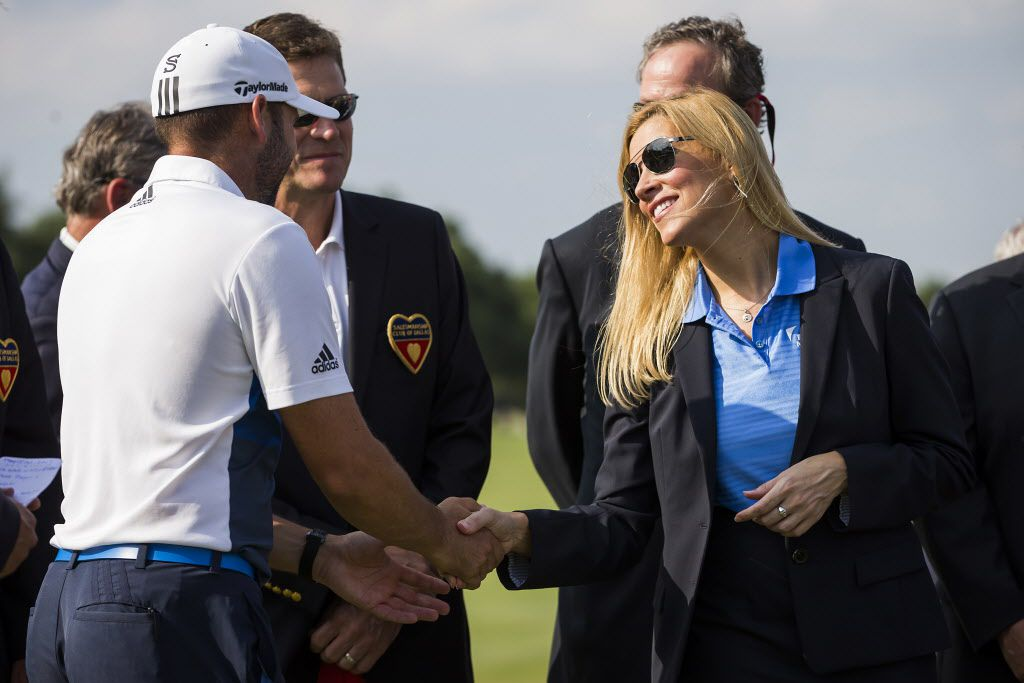 Irving Mayor Beth Van Duyne shakes hands with  Sergio Garcia during the award ceremonies after he won the AT&T Byron Nelson golf tournament on Sunday, May 22, 2016, in Irving, Texas. (Smiley N. Pool/The Dallas Morning News)