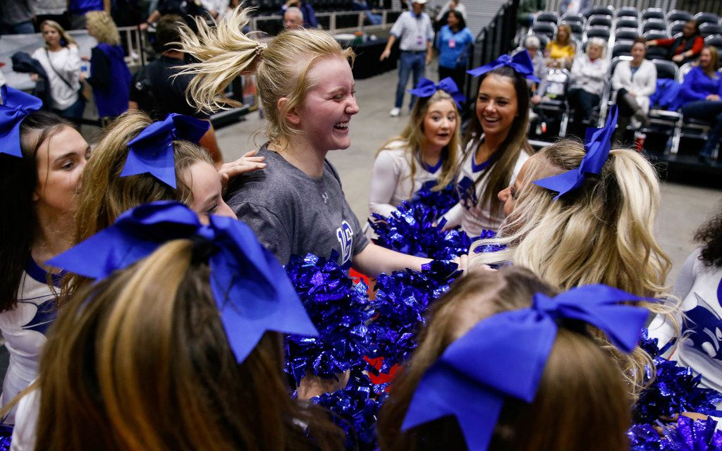 The Byron Nelson's Grace Ver Meer (16) celebrates after winning a class 6A volleyball state semifinal match against Schertz Clemens at the Curtis Culwell Center in Garland, on Friday, November 22, 2019. Nelson won the three sets 32-30, 25-22 and 25-14. (Juan Figueroa/The Dallas Morning News)