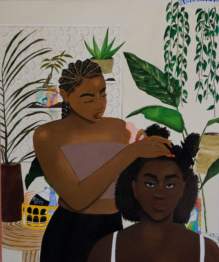 """Artist Ari Brielle's work """"Safe Place"""" is being displayed at the Oak Cliff Cultural Center in Dallas. Her work explores the challenges of African American women in today's society."""