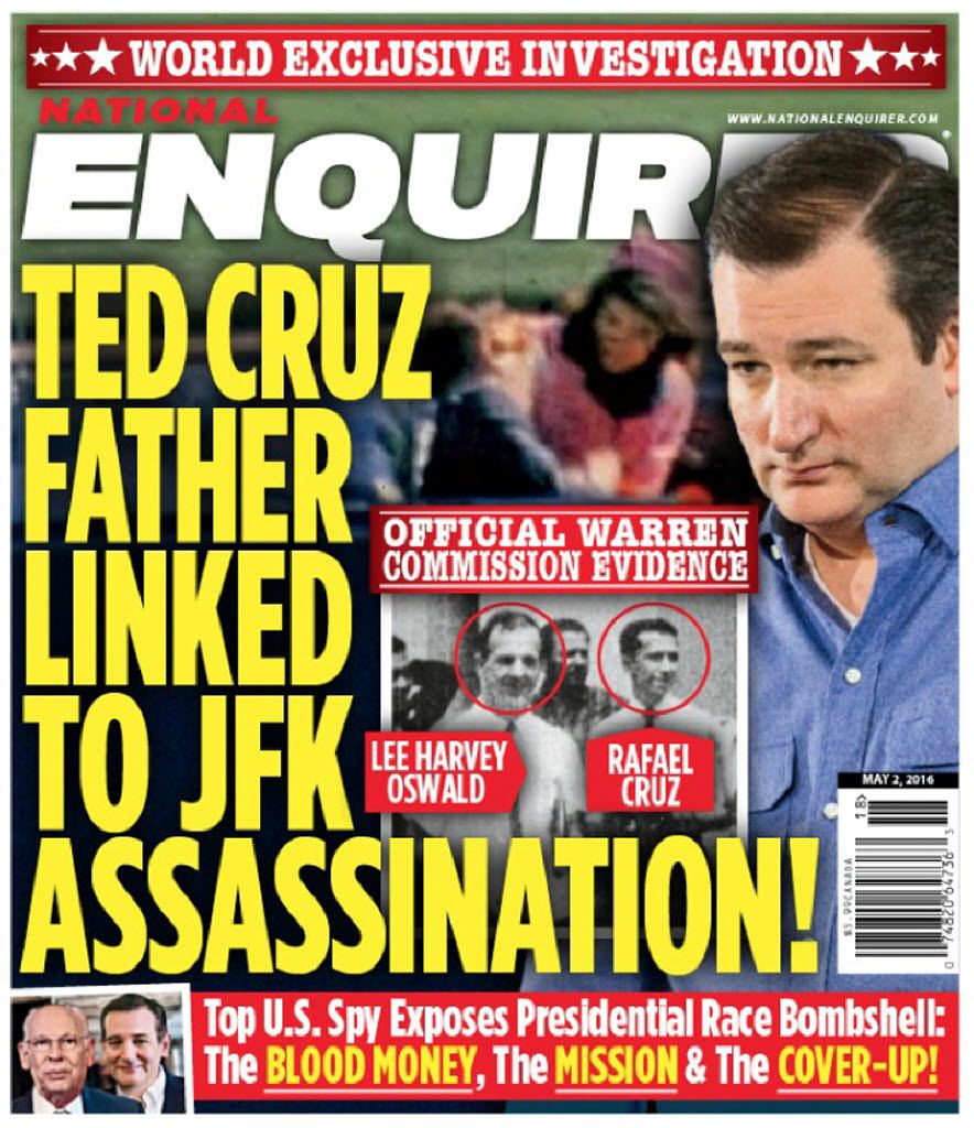 Before Cruz dropped out, Trump referred to allegations in the May 2 edition of the National Enquirer, a supermarket tabloid, suggesting that Cruz's father was involved in the assassination of President John F. Kennedy.