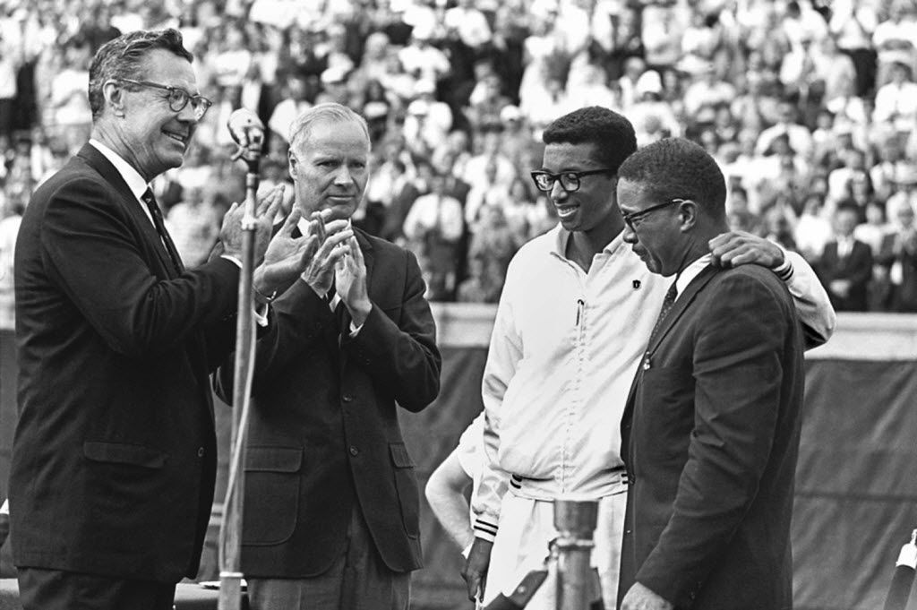 Arthur Ashe, with his father after winning the 1968 U.S. Open, is the only black tennis player to be men's singles champion at the U.S. Open, the Australian Open or Wimbledon.