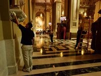 Philadelphia - September 23, 2015; Two days ahead of the U.S. Papal visit, crews clean details of the church interior of the cathedral Basilica of Saints Peter and Paul, located on the Benjamin Franklin Parkway, in Center City Philadelphia.