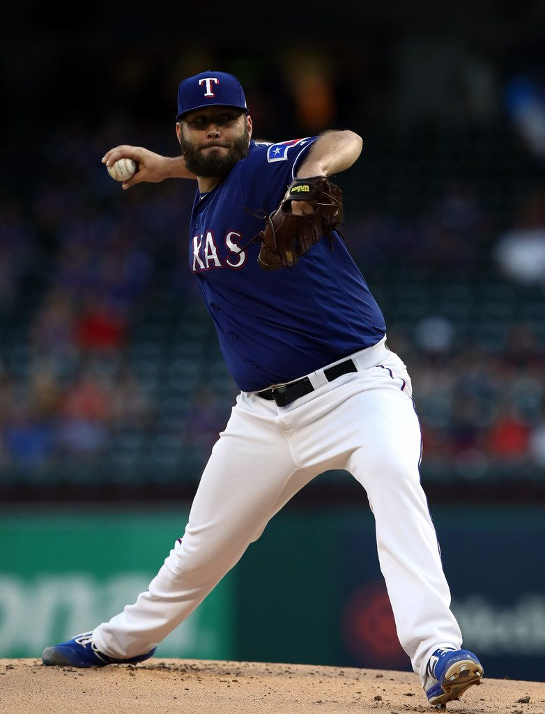 ARLINGTON, TEXAS - SEPTEMBER 10:  Lance Lynn #35 of the Texas Rangers throws against the Tampa Bay Rays in the third inning at Globe Life Park in Arlington on September 10, 2019 in Arlington, Texas. (Photo by Ronald Martinez/Getty Images)