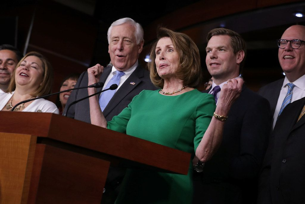 House Minority Leader Nancy Pelosi and other Democrats celebrate defeat of the GOP plan to repeal and replace the Affordable Care Act (Chip Somodevilla/Getty Images)