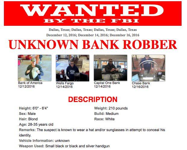 Parte del folleto emitido por la FBI de Dallas sobre el ladrón en serie. (CORTESÍA)