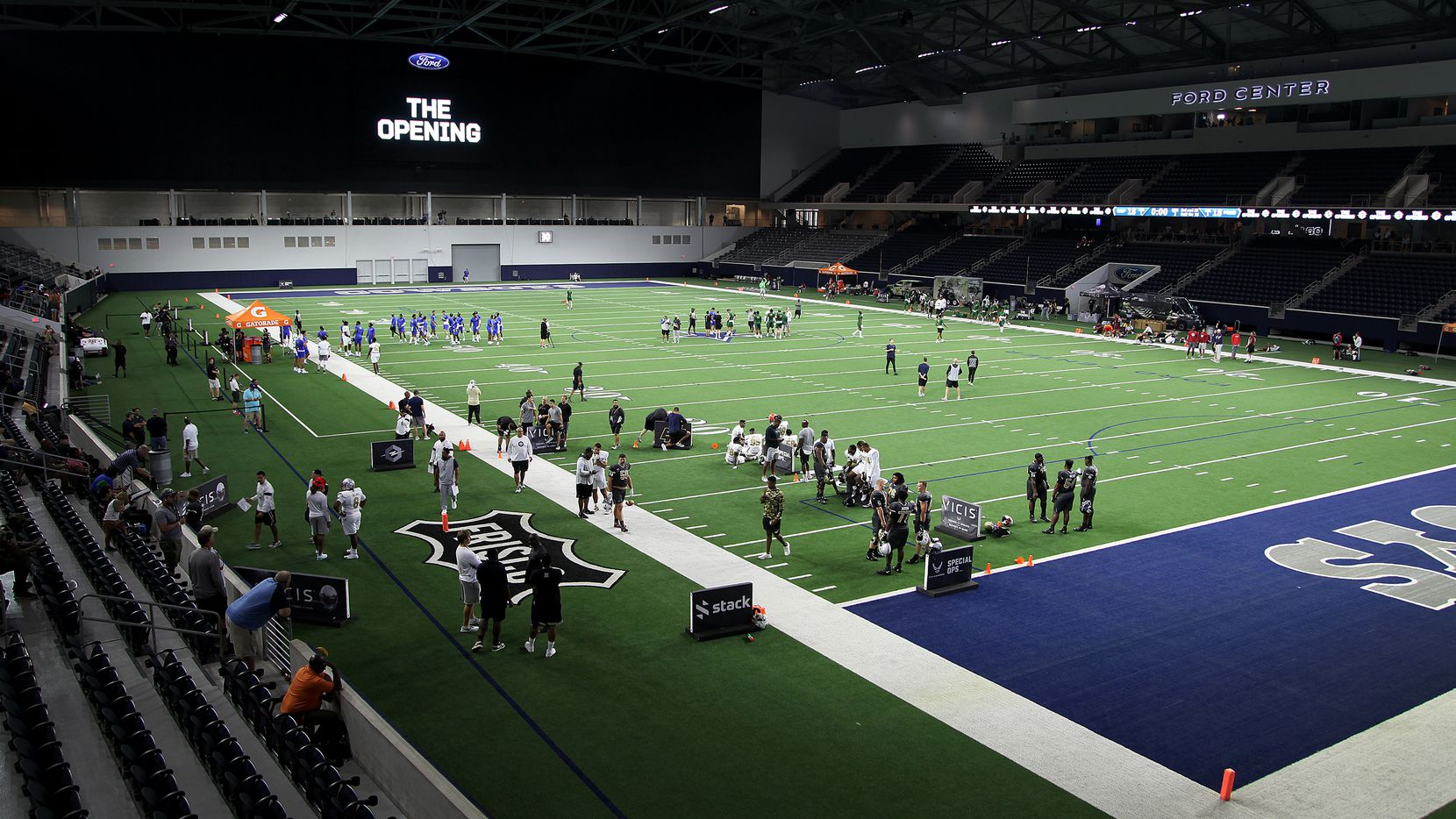 A break in the action at The Opening Finals, a football camp featuring some of the top high school recruits in the country. The final day of the event was held at The Star in Frisco on  Wednesday, July 3, 2019.