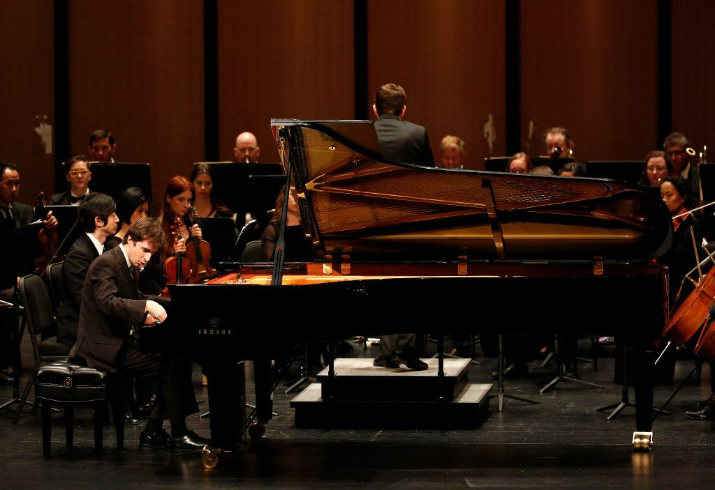 Pianist Kenneth Broberg performs Franz Liszt's Totentanz with the Dallas Chamber Symphony during a concert at Dallas City Performance Hall in Dallas on Tuesday, April 18, 2017. (Rose Baca/The Dallas Morning News)