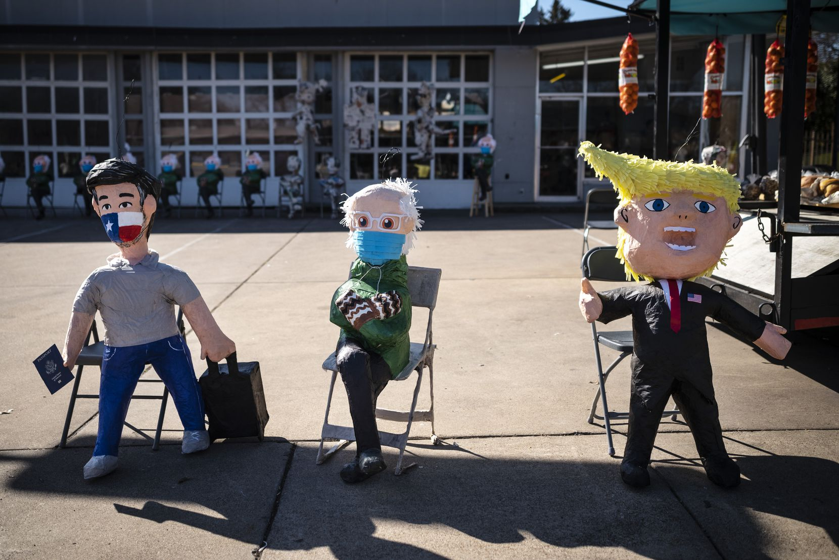 Piñatas of Ted Cruz, Bernie Sanders and former President Donald Trump are being made and sold at ABC Party in Dallas, on Tuesday, Feb. 23, 2021.