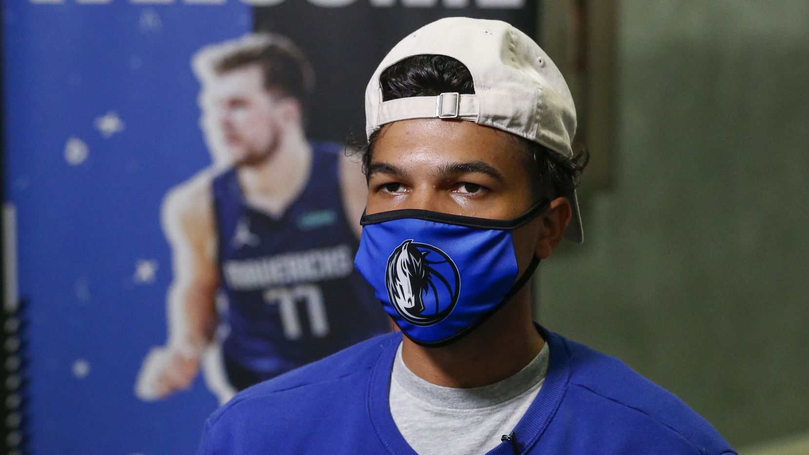 Dallas Mavericks guard Tyrell Terry sits for an interview during a Mavs Academy Hoop Camp at Plano Sports Authority on Thursday, July 8, 2021, in Plano, Texas.