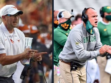Texas' Herman and Baylor's Dave Aranda are old friends and college teammates who will meet for the first time Saturday, Oct. 24, 2020, as opposing head coaches. (AP Photo/Chuck Burton, File)