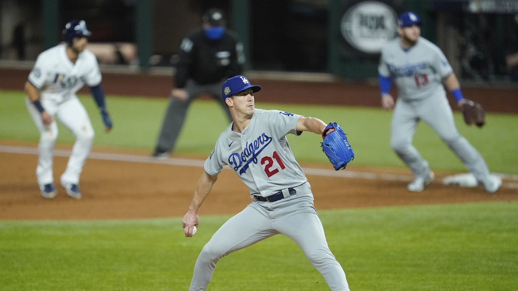 Los Angeles Dodgers starting pitcher Walker Buehler delivers during the third inning against the Tampa Bay Rays in Game 3 of the World Series at Globe Life Field on Friday, Oct. 23, 2020.