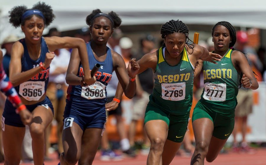 McKinney North's Elon'a Jones (3565) and Brooke Givens (3563), along with DeSoto's Ja'Era Griffin (2769) and Bryannia Murphy (2777), compete in the girls 4x100-meter relay at the Texas Relays last year. This season, Griffin runs on the 4x100 and Murphy runs on the 4x400, with both DeSoto relays posting the fastest times in the nation. (Stephen Spillman/Special Contributor)