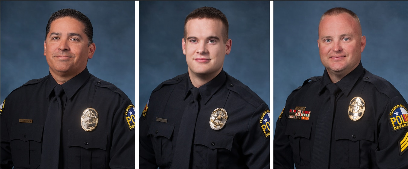Sgt. Adam Quintana, officer Gregory Hall and Sgt. John Styne-Burns were shot Wednesday while responding to a 911 call about a suicidal person in Flower Mound.