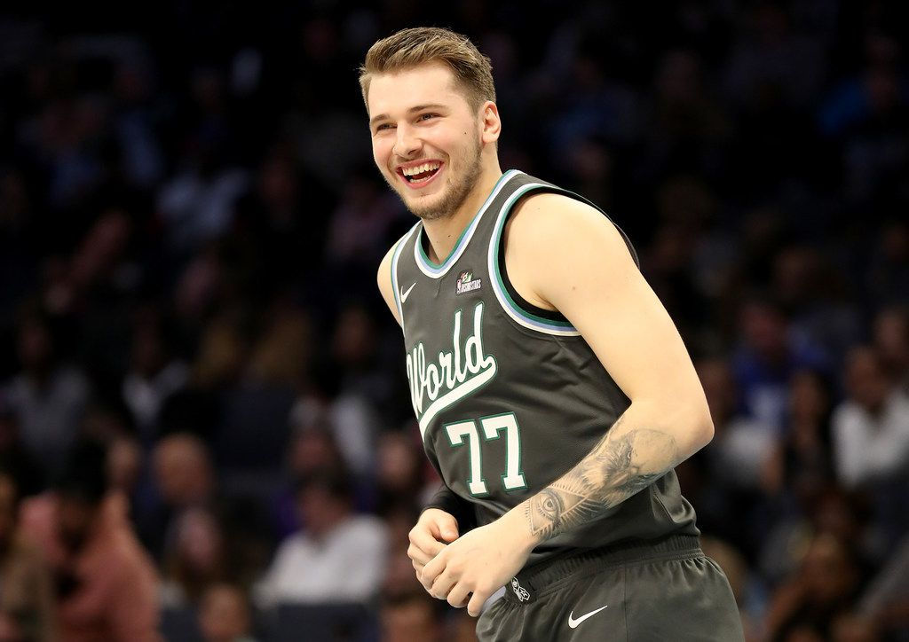 CHARLOTTE, NORTH CAROLINA - FEBRUARY 15: Luka Doncic #77 of the World Team reacts during the 2019 Mtn Dew ICE Rising Stars at Spectrum Center on February 15, 2019 in Charlotte, North Carolina. (Photo by Streeter Lecka/Getty Images)