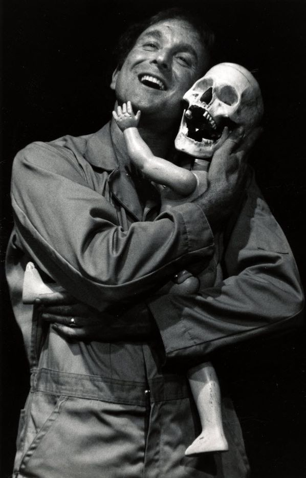 "Fred Curchack performs in the second installment of his three-part ""Sexual Mythology"" at the Deep Ellum Theatre Garage in 1990"